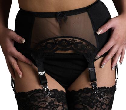 vintage lace black sexy suspender belt