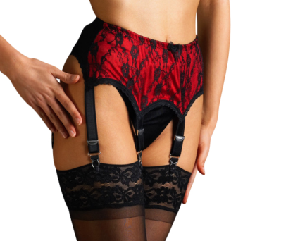 Deep lace suspender belt 6 strap