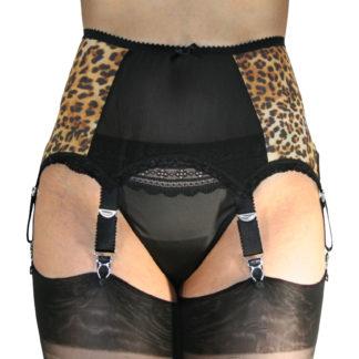 Leopard print six strap vintage suspender belt garter front view