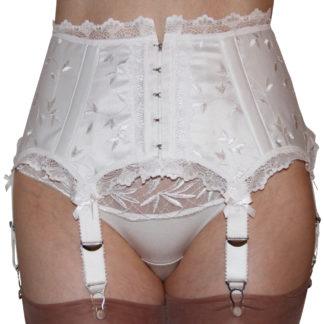 white brulesque garter belt