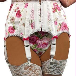 Burlesque garter belt english rose with 6 straps
