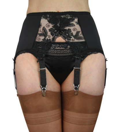 6 strap suspender belt with wonderful crossover lace to the front