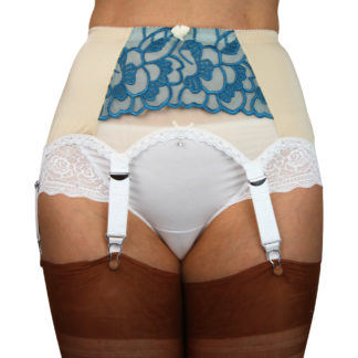 Ivory 6 Strap suspender belt, white trimmings and white straps with metal clips and adjustors