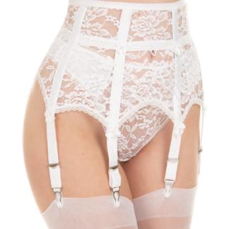 White high waist garter belt suspendert belt waspie cincher