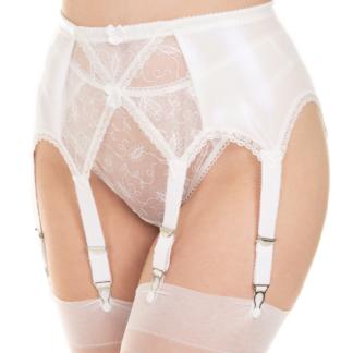Wetlook white garter belt suspender belt multi strap 6 8 10 12 14 straps